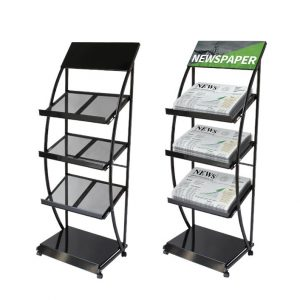 3 Selves Rolling Brochure Holders with silver and black color options.