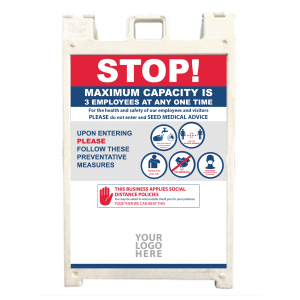 Indoor/Outdoor Sandwich Board with sample text.