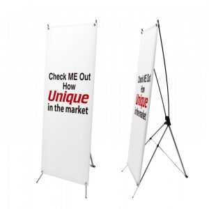 """X-Type Bannerstand.Single-sided banner stand, Banner Size: 24""""W x 621/2 """"H, Plastic Finish, Stand Color: Black."""